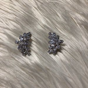 CZ Marquis-Cut Curved Cluster Earrings